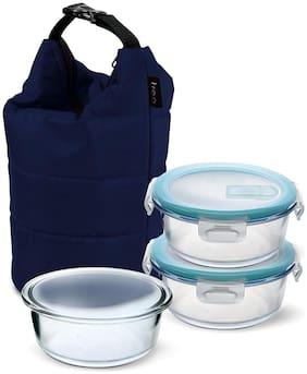TREO by Milton Swag Borosilicate Round Tiffin Box, 380 ml, Set of 3, Blue Jacket