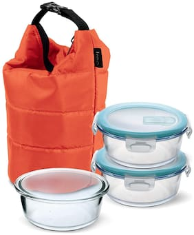Treo 3 Container Glass Lunch Box Set of 1 ( Transparent ,  380 ml )