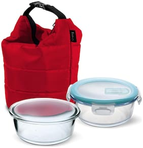 Treo 2 Container Glass Lunch Box Set of 1 ( Transparent ,  380 ml )