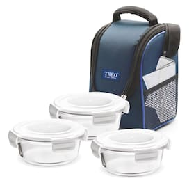 Treo 3 Container Glass Lunch Box Set of 1 ( Blue ,  380 ml )