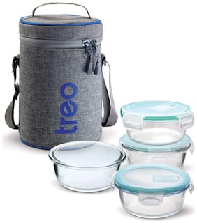 Treo Glass On Deluxe 4 Glass Lunch Box;Transparent