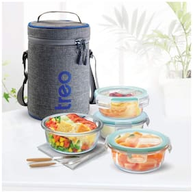 Treo ALL FRESH BOROSILICATE 4 Container Glass Lunch Box Set of 1 ( Transparent ,  400 ml )