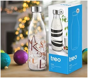 Treo Glass Transparent Water Bottle ( 1000 ml , Set of 1 )