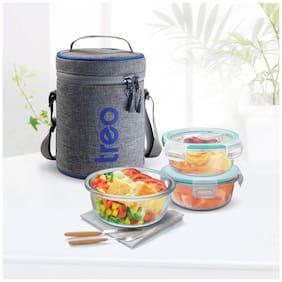 Treo ALL FRESH BOROSILICATE 3 Container Glass Lunch Box Set of 1 ( Transparent ,  380 ml )