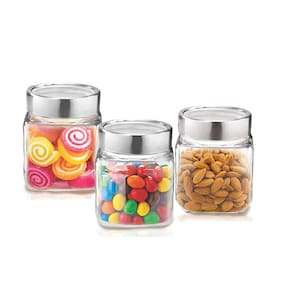 Treo Stylish Canisters;Set of 3-Transparent