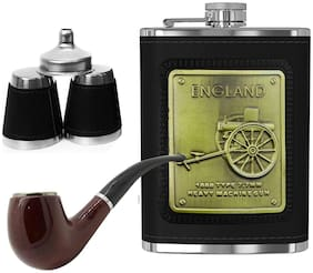 Triangle Ant 1150 Black Hip Flask Stainless Steel With 1 Cigar;2 Glasses;1 Funnel For Alcohol Drinking  Whisky -236 ML