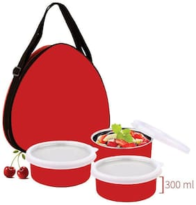 Lavi 3 Containers Stainless steel Lunch Box - Orange
