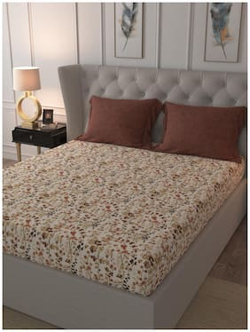 Trident Cotton Floral King Size Bedsheet 144 ( 1 Bedsheet With 2 Pillow Covers , Beige )