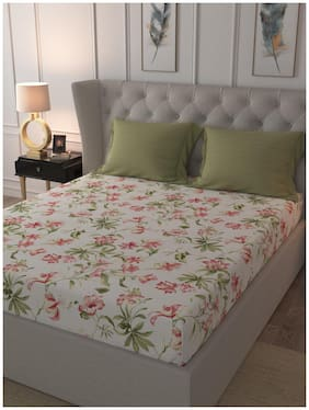 Trident Cotton Floral King Size Bedsheet 144 ( 1 Bedsheet With 2 Pillow Covers , Green )