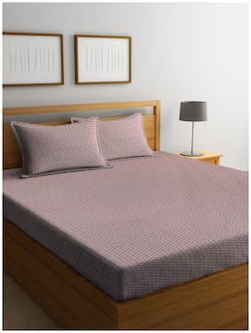 Trident Cotton Abstract Queen Size Bedsheet 144 TC ( 1 Bedsheet With 2 Pillow Covers , Purple )