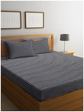 Trident Cotton Geometric Queen Size Bedsheet 144 TC ( 1 Bedsheet With 2 Pillow Covers , Black )