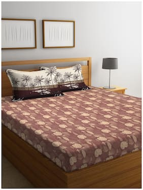 Trident Cotton Floral Double Size Bedsheet 144 TC ( 1 Bedsheet With 2 Pillow Covers , Brown )