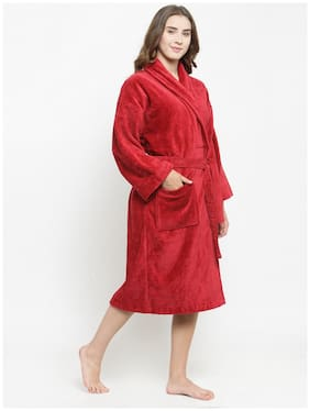 Trident 500 GSM Cotton Bathrobe ( Pack of 1 , Red )