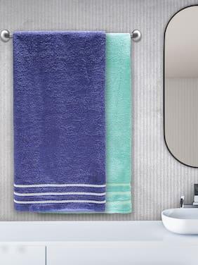 Trident 380 GSM Cotton Bath towel ( 2 pieces , Blue & Green )