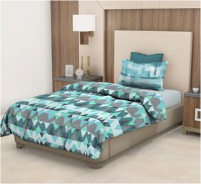 Trident Epitome Mauve Geometric Single Bed Sheet (DSN-02) (1 PC)