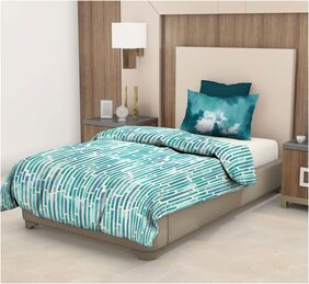 Trident Epitome Green Floral Single Bed Sheet (DSN-05) (1 PC)