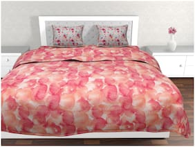 Trident Epitome Pink Floral Double Bedsheet With 2 Pillow Cover Set (Td-E-006)