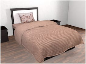 Trident 144 Geometric Fitted Single Bedsheet ( Brown , Pack of 2 )