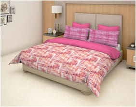 Trident Cotton Striped Double Bedsheet ( 1 Bedsheet with 2 Pillow Covers , Pink )