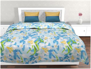 Trident Cotton Floral Double Size Bedsheet 144 TC ( 1 Bedsheet With 2 Pillow Covers , Blue )