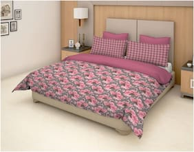 Trident Epitome Pink 1 Double Bedsheet With 2 Pillow Cover Set (Td-E-004)