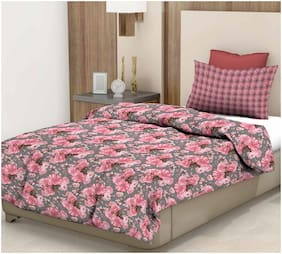 Trident Cotton Floral Single Bedsheet ( 1 Bedsheet with 1 Pillow Cover , Pink )