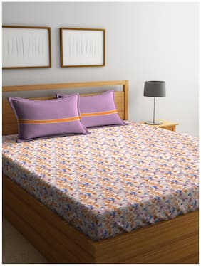 Trident 180 TC Floral Flat King Bedsheet ( Multi , Pack of 3 )