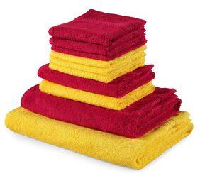 Trident Splash 100% Cotton 10 Piece Towel Set;Yellow & Maroon