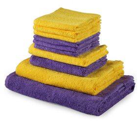 Trident Splash 100% Cotton 10 Piece Towel Set;Purple & Yellow