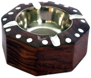 Triple S Handicrafts Brown Wooden Ashtray  (Pack of 1)