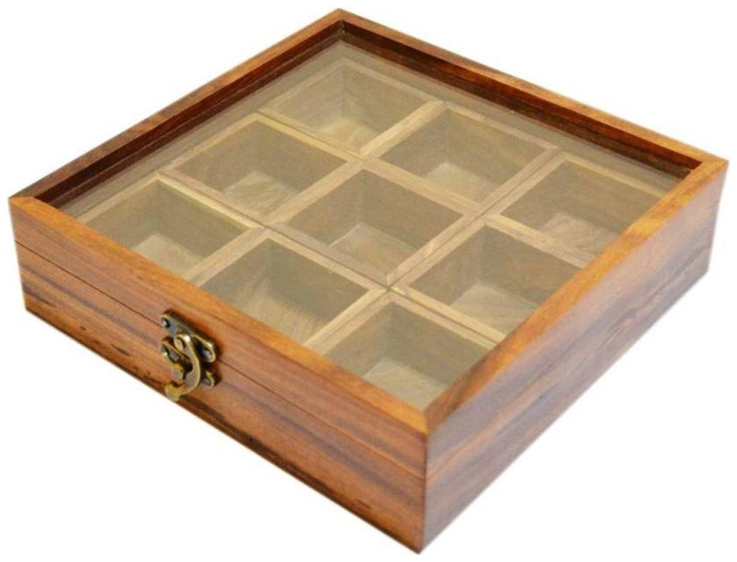 Triple S Handicrafts 9 container spice box container   270 ml Wooden Spice Container   Brown