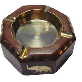 Triple S Handicrafts Pro Brown Wooden Ashtray  (Pack of 1)