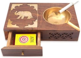 Triple S Handicrafts with Case Brown Wooden Ashtray  (Pack of 1)