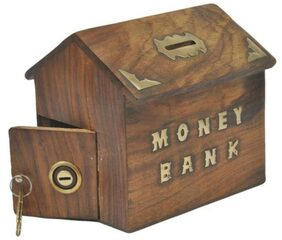 Triple S Handicrafts wooden Coin Bank  (Brown)