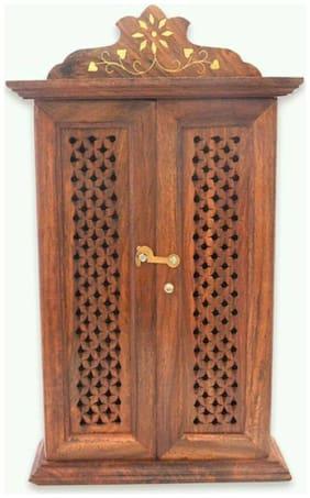 Triple S Handicrafts Wall Hanging Dobule Door Key Box Wooden Key Holder  (6 Hooks  Brown)