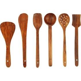 Triple S Handicrafts Wooden Ladle (Pack of 6)