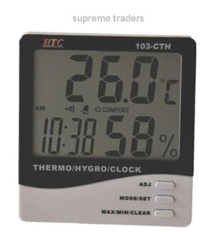 TRP TRADERS Instrument 103-CTH Digital Indoor Hygrometer Thermometer with Clock