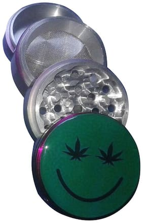 True HandMade Standard Aluminium Herb Grinder(4 Part, 63mm, Green Smiley)