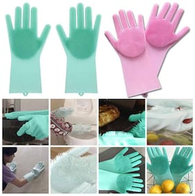 TRYOKART 2 pc set 2 in 1 Magic Silicone Rubber Dish Washing Gloves Eco Scrubber Cleaning Multipurpose Sponge For Kitchen