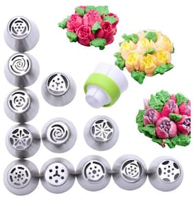 TryoKart Stainless Steel Russian Icing Nozzles with Piping, 12 pcs