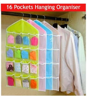 TRYOKART 16 Pocket Wardrobe Hanging Closet Organizer for Jewelry, Inner Wear, Socks, Accessories(Assorted Color)-Pack of 1