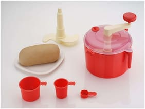 Tryviz Dough Maker Machine with Free Measuring Cups (Aata maker) (FSSAI approved food grade plastic) Red colors