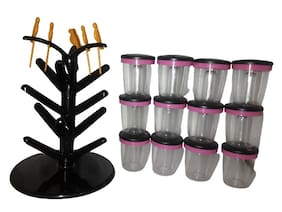 TSP 12 Jar Cute Revolving Spice Masala Box Rack with 6 Yellow Fruit Fork With Spice Set