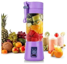 TSV Portable Plastic with Stainless Steel Blade Wireless Rechargeable Mini Automatic Electric Juicer Bottle - (380ml)