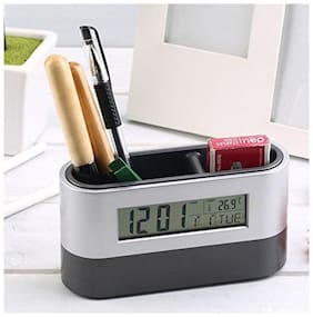 Tuelip 2 Compartments Plastic desk organizer with alarm clock  (Black, Silver)