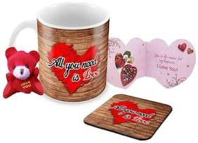 Tuelip All U Need Is Love Printed Ceramic Mug With Teddy Keychain;Greeting Card & Coaster for Tea and Coffee (350 ml)-Valentine Day Gift Mug