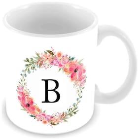 "Tuelip Alphabet ""B"" Design Printed Ceramic Coffee Mug for Home and Office (350Ml)"