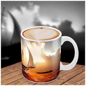 "Tuelip ""Amazing Ship In Sunset "" Printed for tea & coffee Ceramic Mug ( 350Ml )"