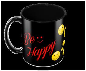 "Tuelip ""Be Happy"" Printed for tea & coffee Ceramic Mug ( 350Ml )"