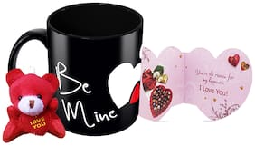 Tuelip Be Mine Printed Ceramic Mug With Teddy Keychain & Greeting Card for Tea and Coffee (350 ml)-Valentine Day Gift Mug